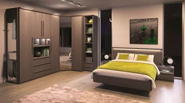 Eckschrank Schlafzimmer Regale Teppich Bild Grüne Akzente Design - Eckschranke schlafzimmer