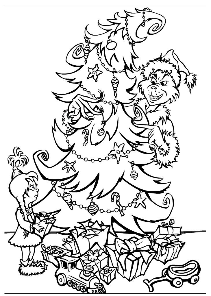 Grinch Coloring Pages Free Printable Grinch Christmas Present