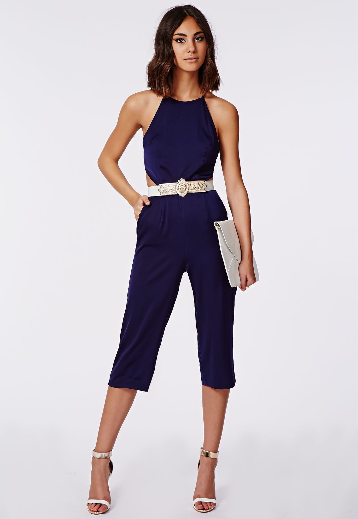 7b7e513102d1 Royah Silky Backless Culotte Jumpsuit Navy - Jumpsuits - Evening Jumpsuits  - Missguided