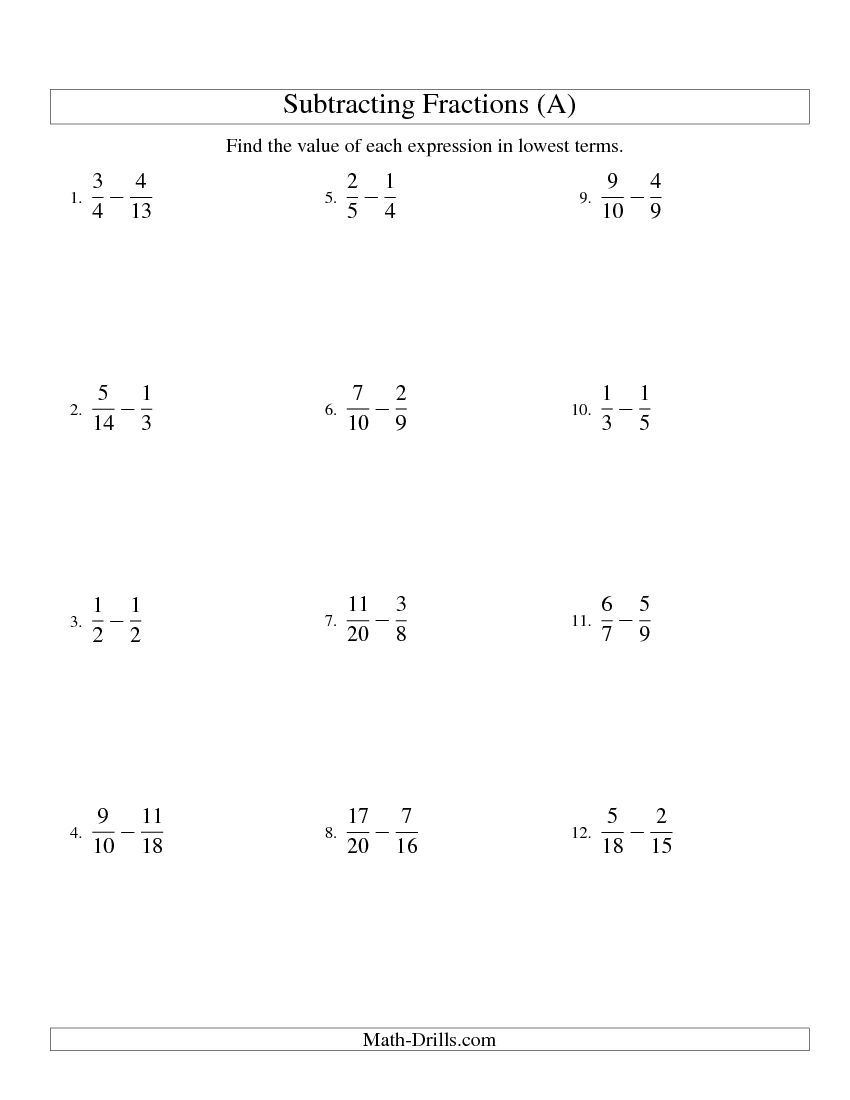 Worksheets Adding And Subtracting Fractions With Unlike Denominators Worksheets subtracting fractions with unlike denominators a math a