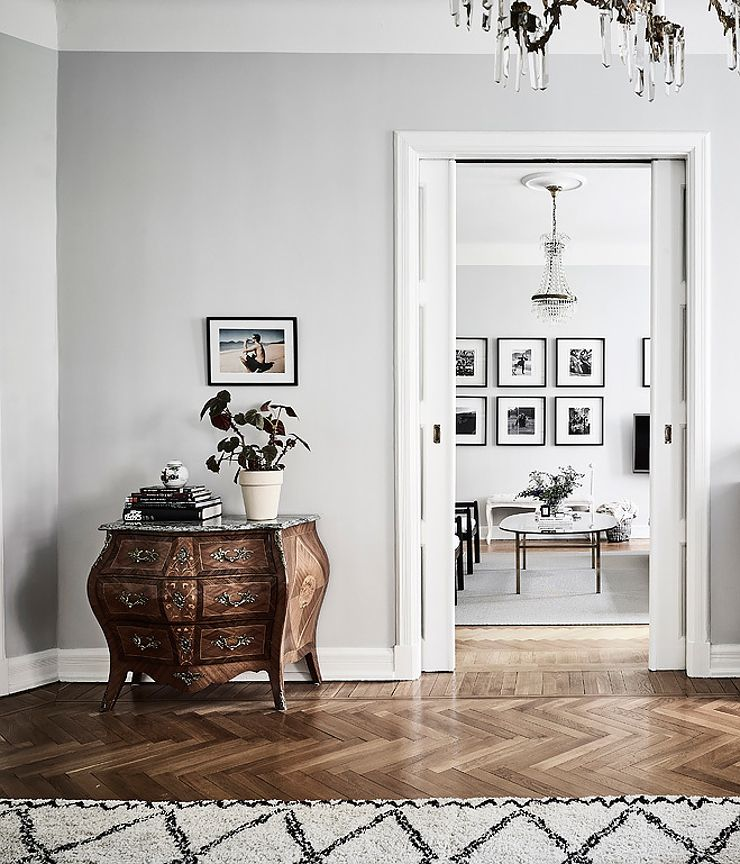 Interiors Grey Walls Living RoomHerringbone