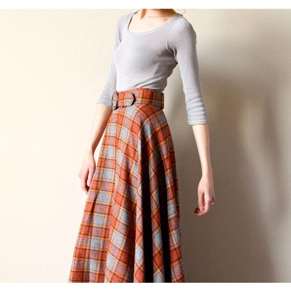 b8e592b9e1 60s Plaid Wool Maxi Skirt, boho hippie Tartan long a-line preppy kilt...  ($44) ❤ liked on Polyvore featuring skirts, brown maxi skirt, long boho  skirt, ...