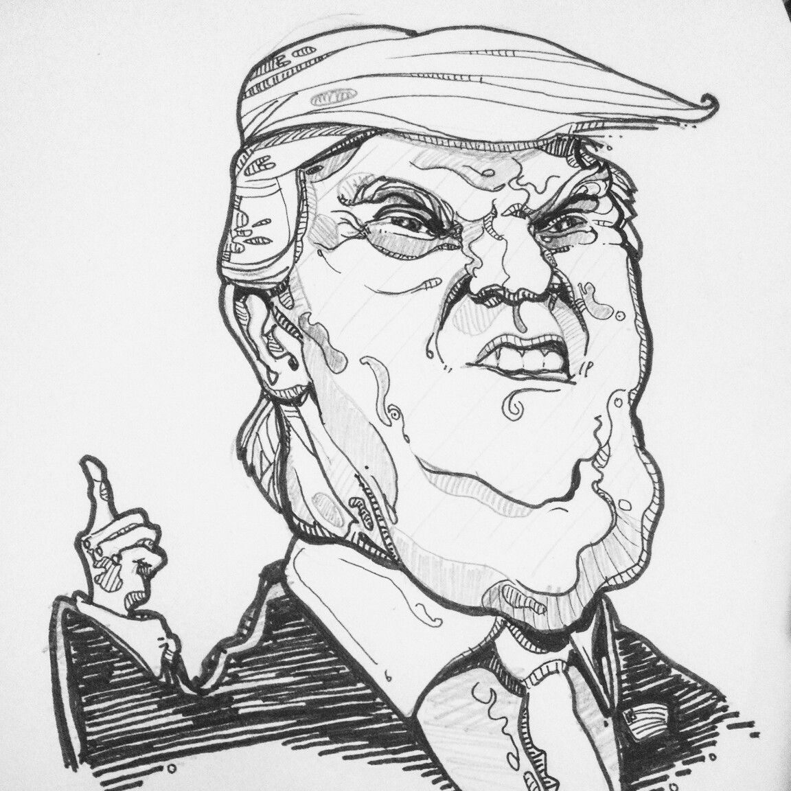 Donald Trump Drawing. Illustration Of The President Elect