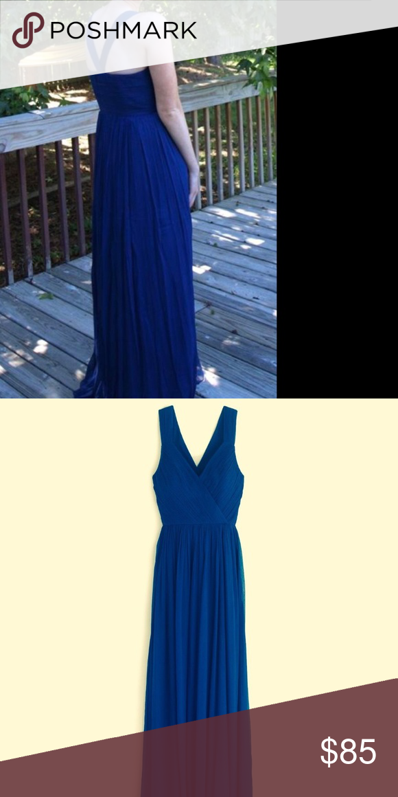 e8de825d8f1 JCrew NWT Blue SILK CHIFFON ANABEL LONG DRESS Sz 4 Brand  J.Crew Size