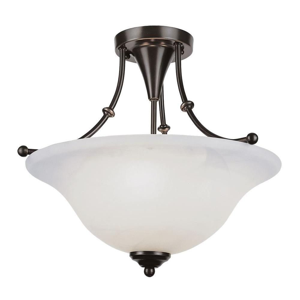 Bel Air Lighting Stewart 3 Light Weathered Bronze Cfl Ceiling Semi Flush Mount