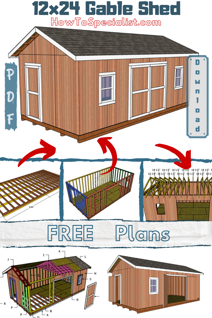 12x24 Shed Plans - Free DIY Plans | HowToSpecialist - How to Build, Step by Step DIY Plans