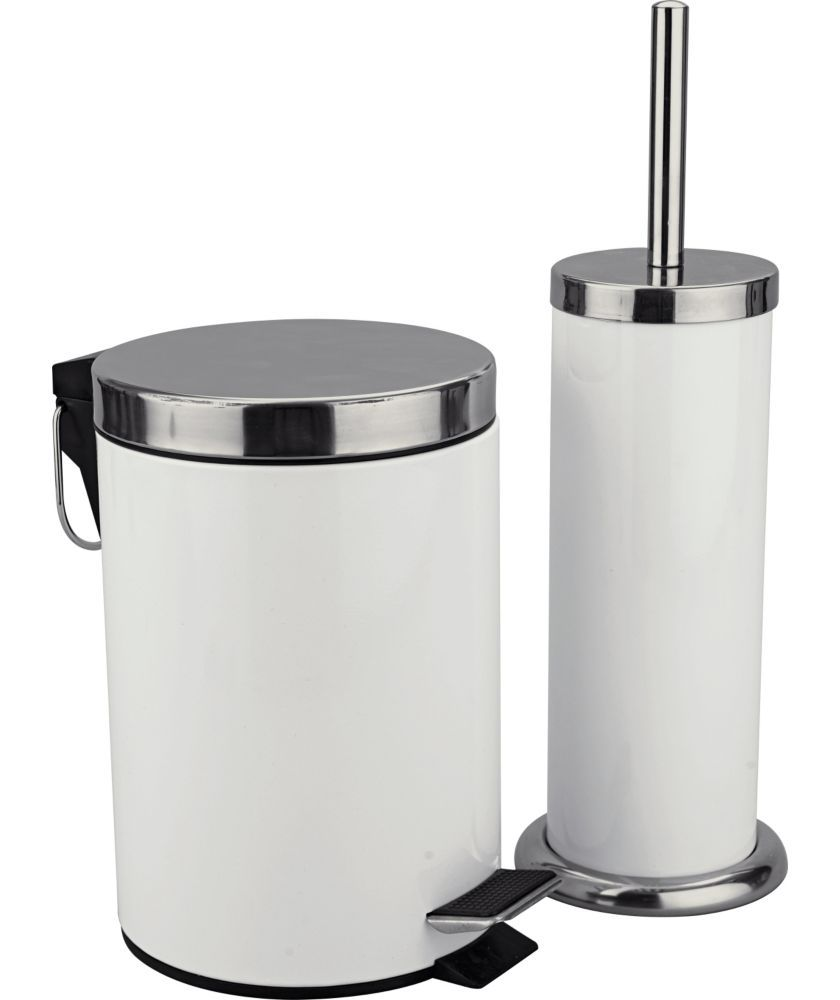 Colourmatch Bathroom Bin And Toilet Brush Set Super White At Argos Co