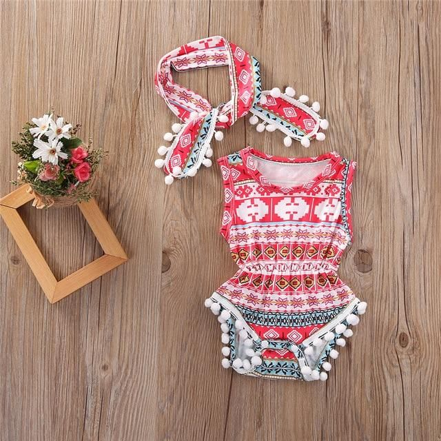 fc1143c3fd4c New Born Baby Girls Boys Floral Rompers Sleeveless Jumpsuit And Headband  2PCS Classic Summer Clothing Wear Outfits