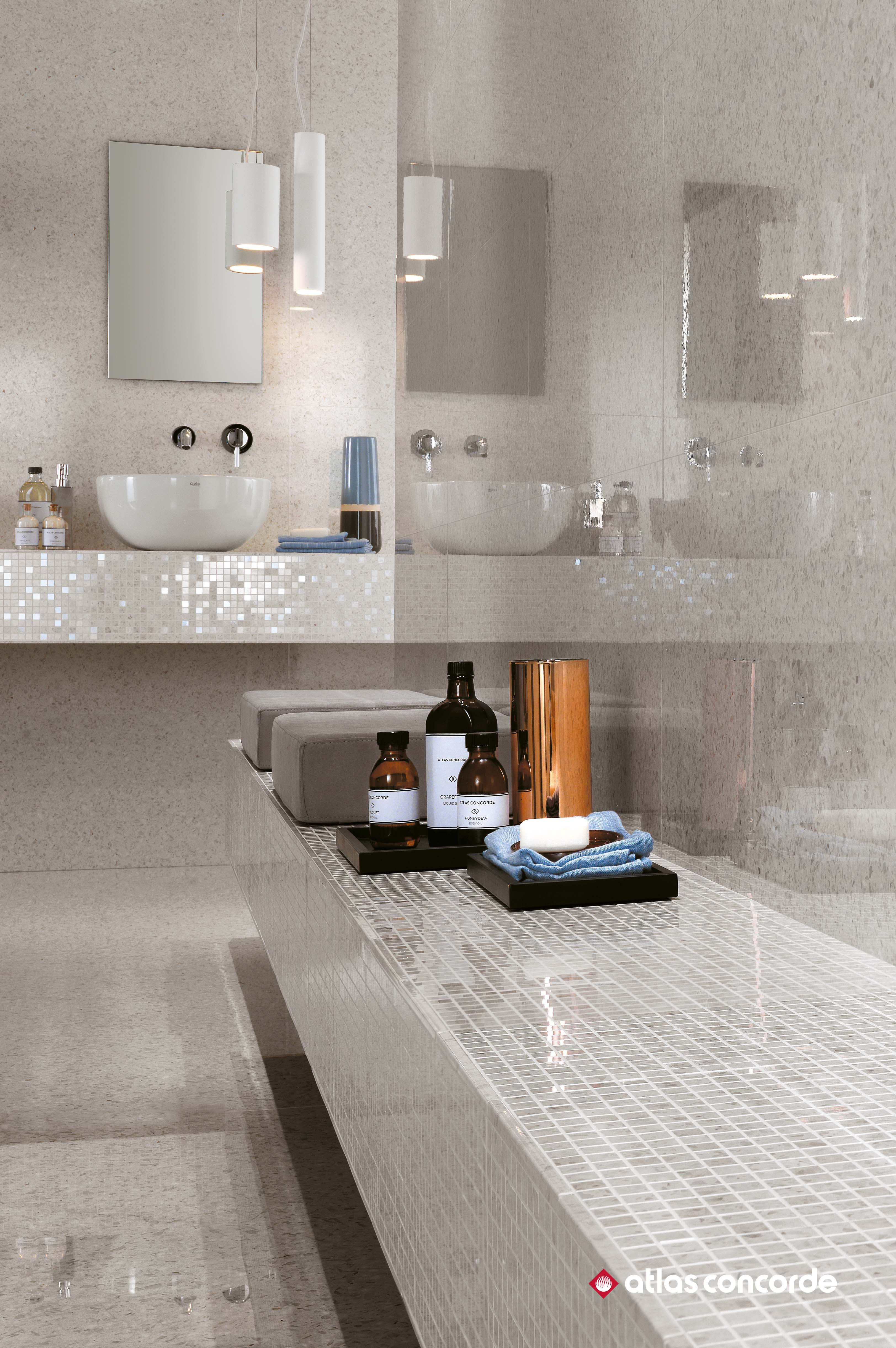Gleaming wall tiles inspired by Terrazzo for