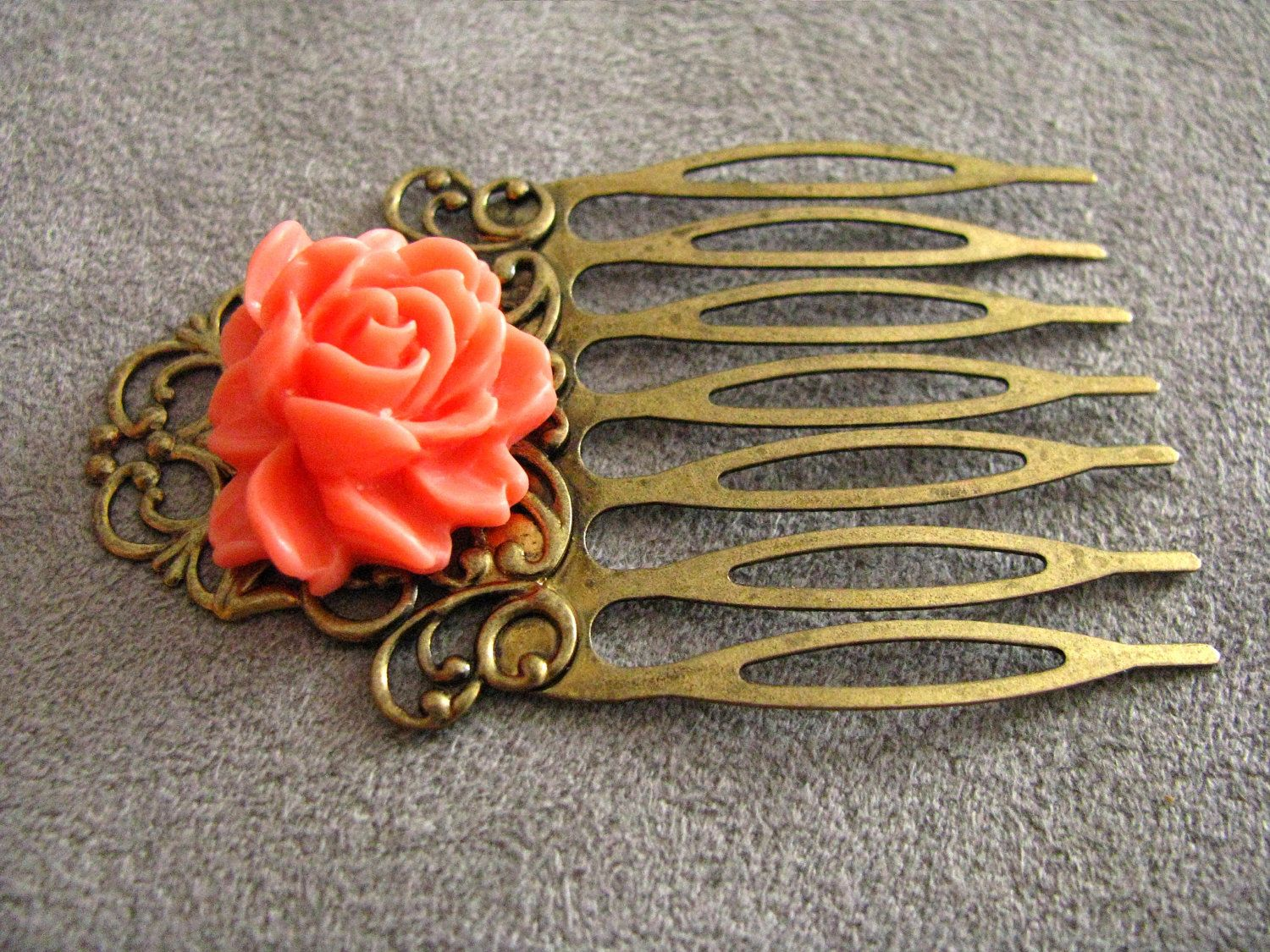 Art Noveau Hair Comb with rose. $10.50, via Etsy. The rose is a little too orange but still in the coral family lyss