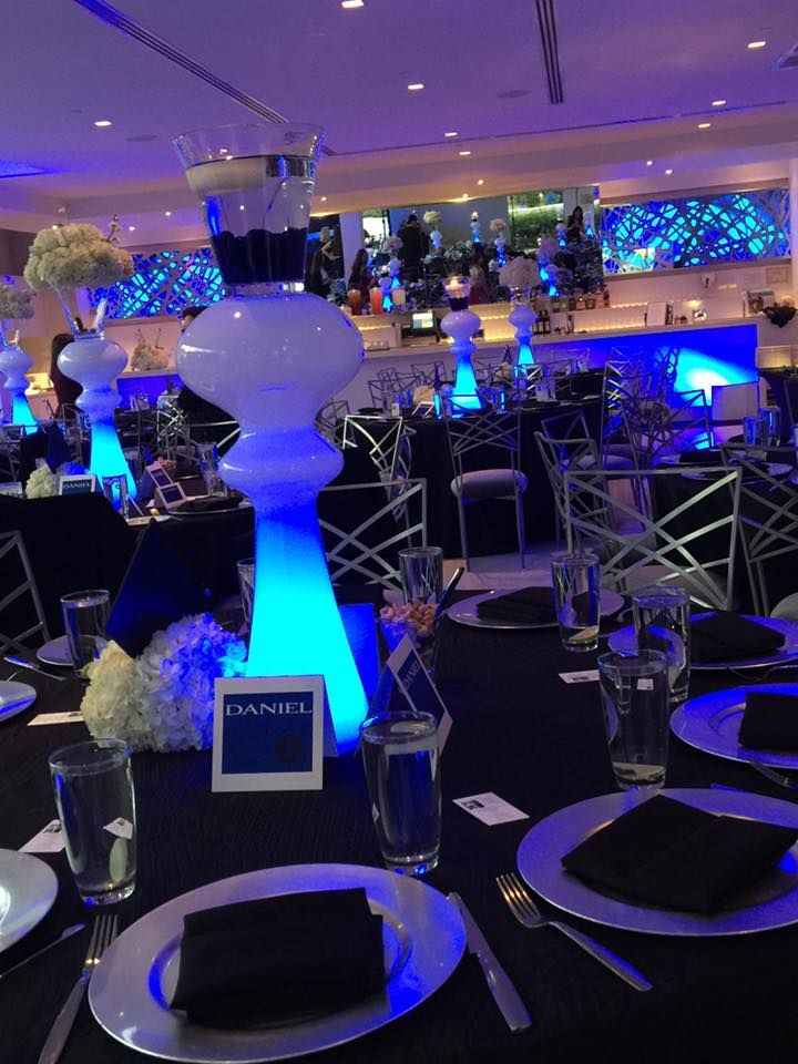 decor by creative occasions  blue uplighting by karma lighting  bar mitzvah at the clayton on