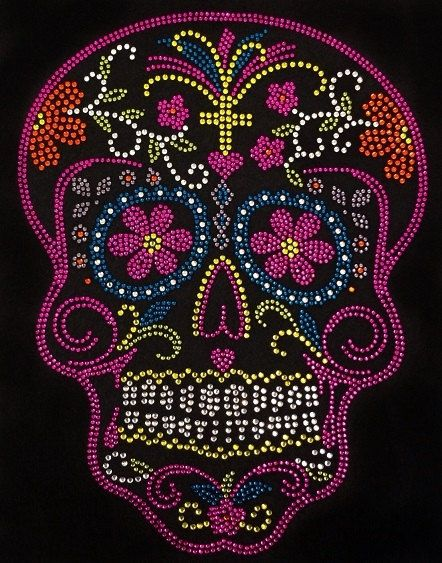 Day of the Dead-Skull Hands Clear Rhinestone Iron on Hotfix