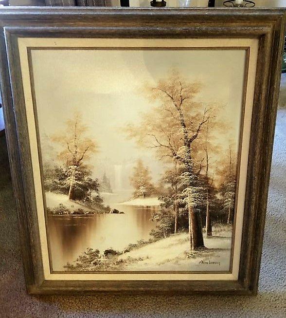Eleven pcs vintage & antique wall art incl prints and oils, some ...