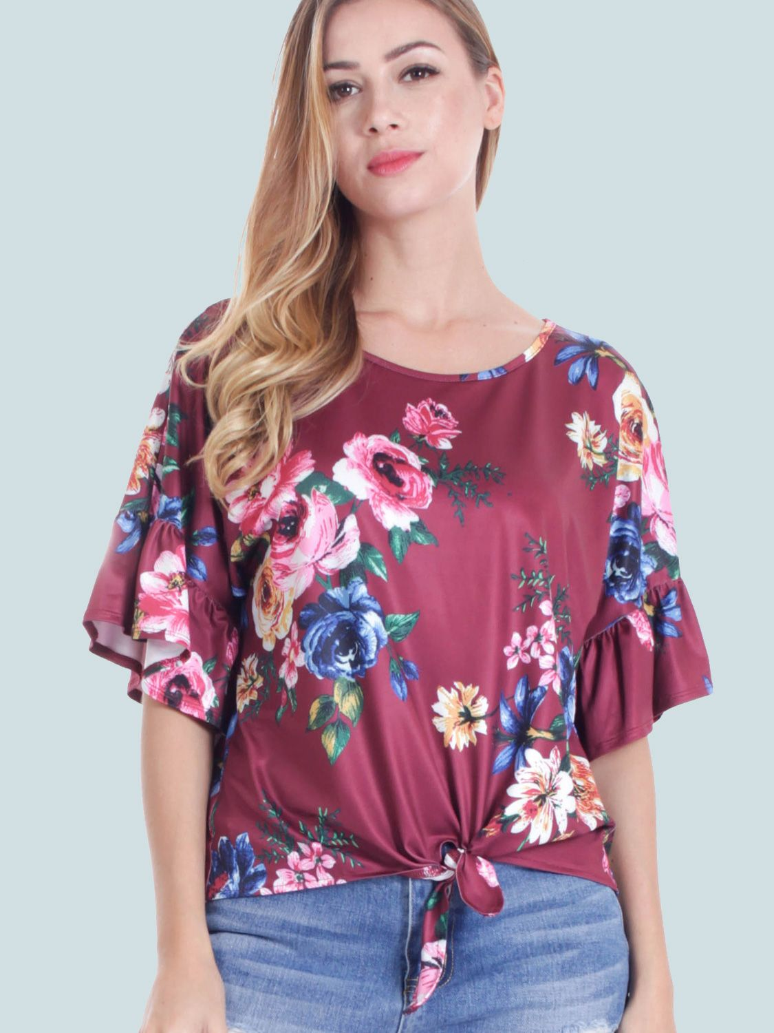 b5a6882ebe9 Tie Front Ruffles Sleeve Floral Print T-Shirt in 2018
