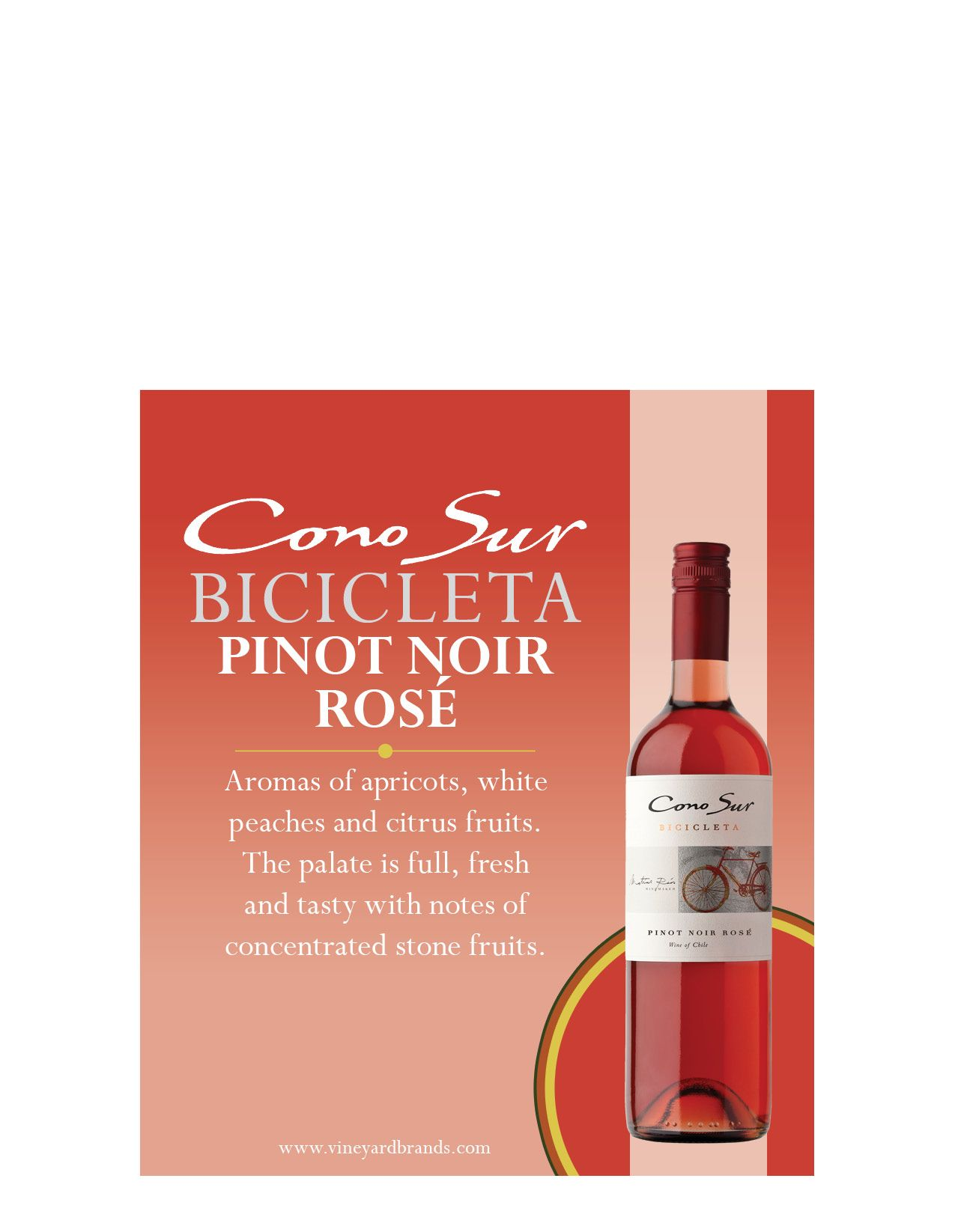 Cono Sur Bicicleta Pinot Nor Rose Stone Fruits Rose Wine Bottle Wine Bottle