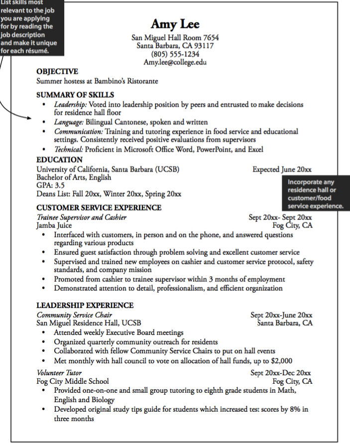 Sample Summer Hostess Resume  HttpExampleresumecvOrgSample
