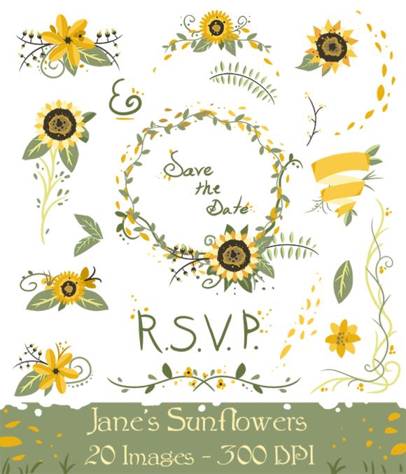 Sunflower wedding. Clipart by digitalartsi on