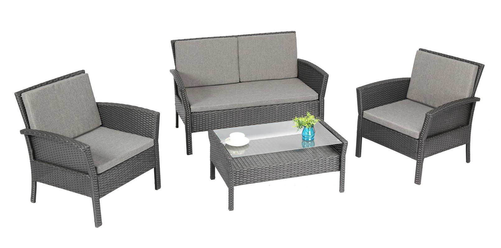 Spiaggia 4 Piece Sofa Set With Cushions Furniture Seating Groups Wicker Decor