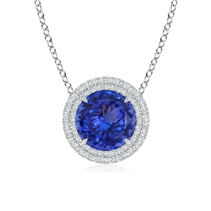 Angara Vintage Style Tanzanite and Diamond Halo Pendant