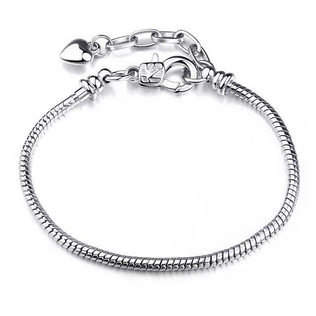 Authentic 925 Sterling Silver Rose Glod Fermoir Plaqué Charme Européen Bracelet