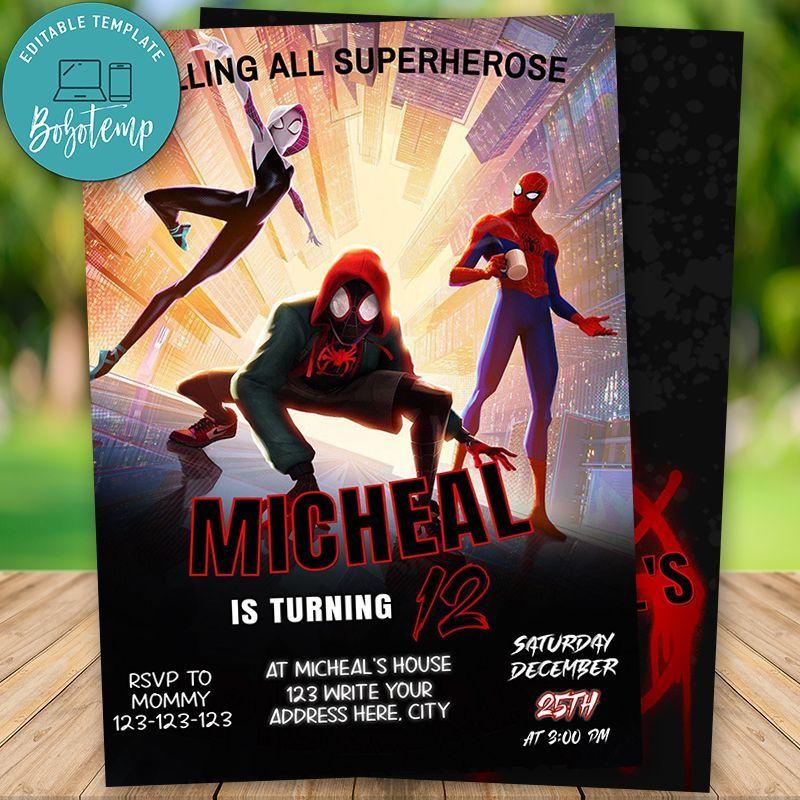 Editable Spider Man Into The Spider Verse Invitation Diy Custom Birthday Invitations Spider Verse Diy Invitations