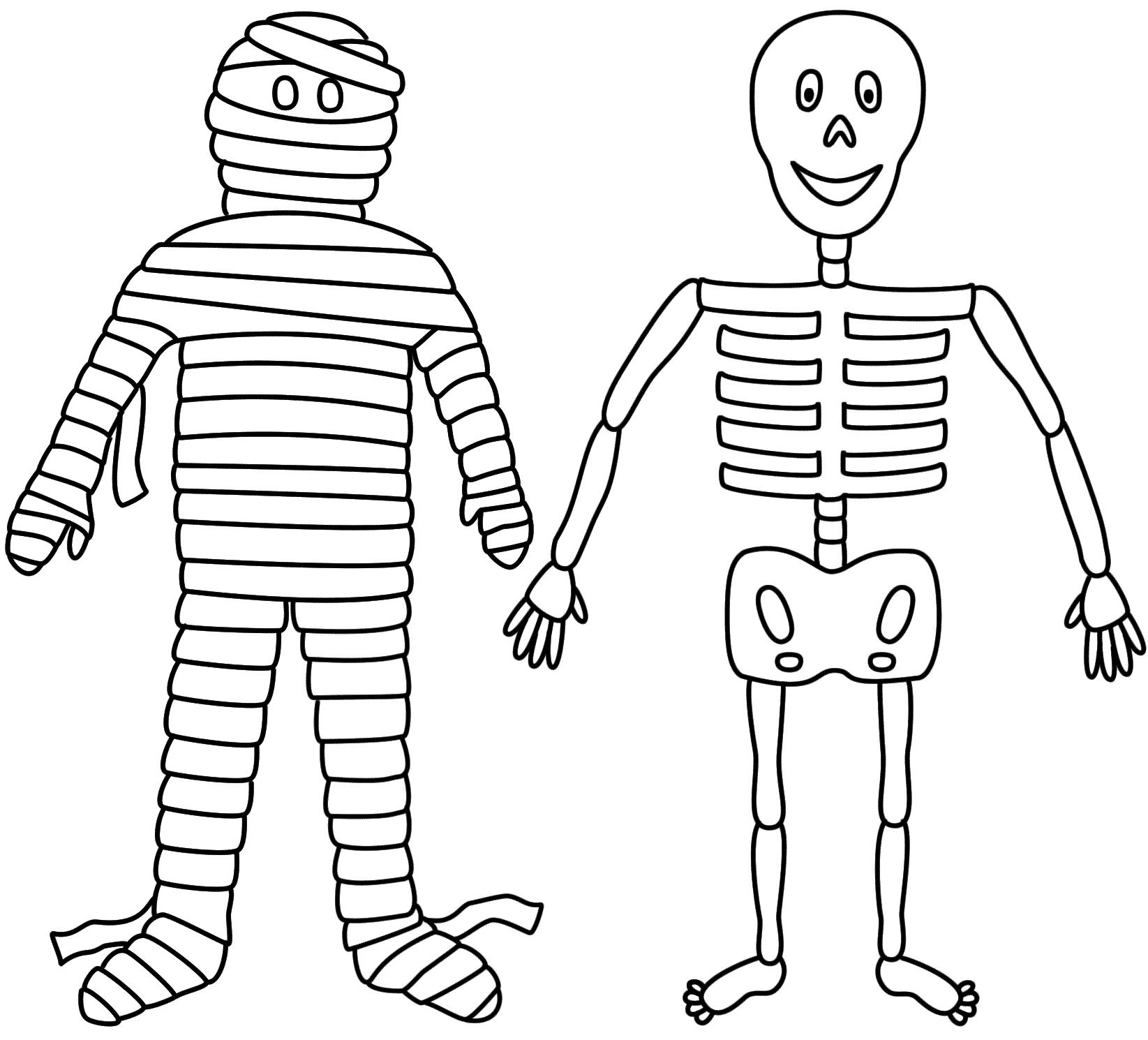 Mumia E Esqueleto Bordado De Halloween Decoracao De Festa Halloween Colorir