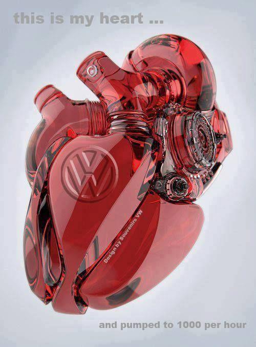 VW Heart Glass Sculpture