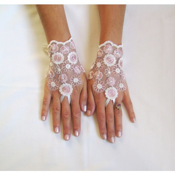 Ivory pink lace gloves bridal gloves wedding gloves lace fingerless... (175 DKK) ❤ liked on Polyvore featuring accessories, gloves, bride gloves, pink fingerless gloves, fingerless bridal gloves, white winter gloves and pink lace gloves