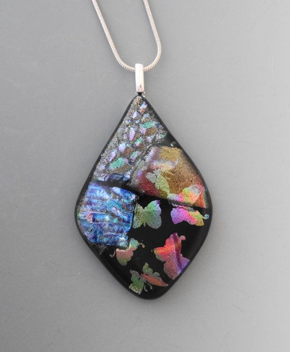 Dichroic glass pendant glass butterfly necklace dichroic jewelry dichroic glass pendant glass butterfly necklace dichroic jewelry fused glass pendant summer jewelry glass teardrop pendant aloadofball Gallery