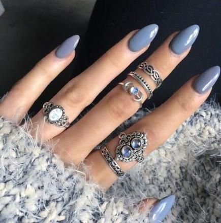 trendy nails almond neutral rings ideas nails  grey