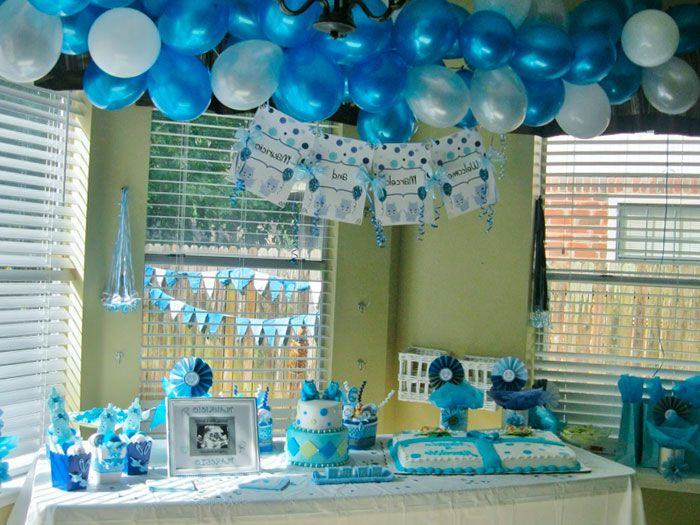 Blue and green baby shower decoration ideas google for Baby shower wall decoration ideas