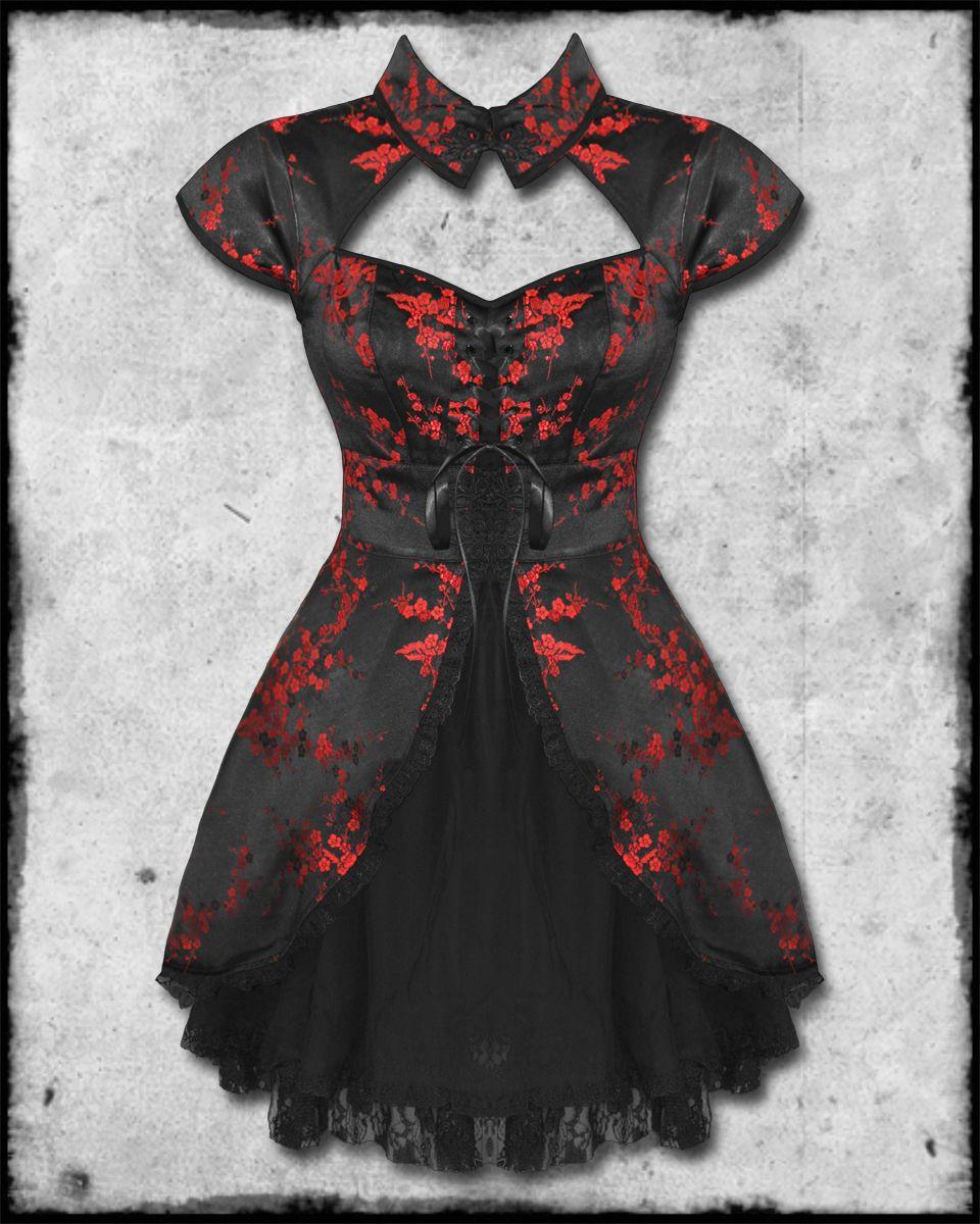 Howtomakesteampunkwomanpantaluns black red chinese floral