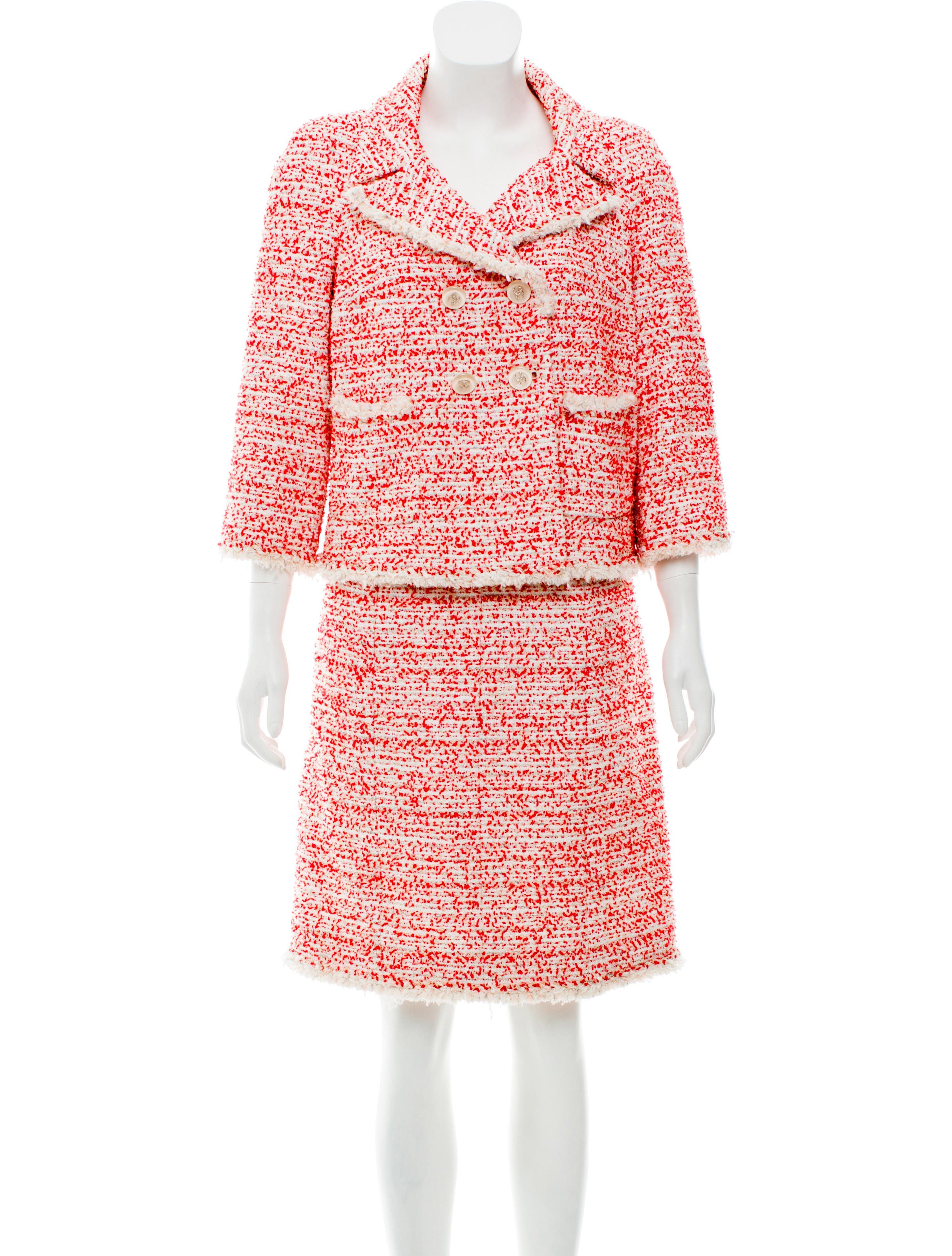 8ab1dca687b96d Tweed Double-Breasted Skirt Suit Tweed Skirt, Skirt Suit, Chanel Style  Jacket,