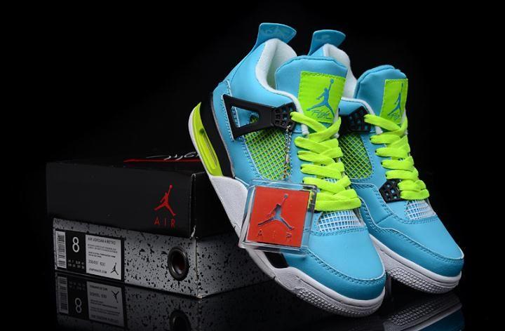 4c7aeda84d7a44 Nike Air Jordan 4 Custom Blue Yellow for Sale - Men Air Jordan 4 ...