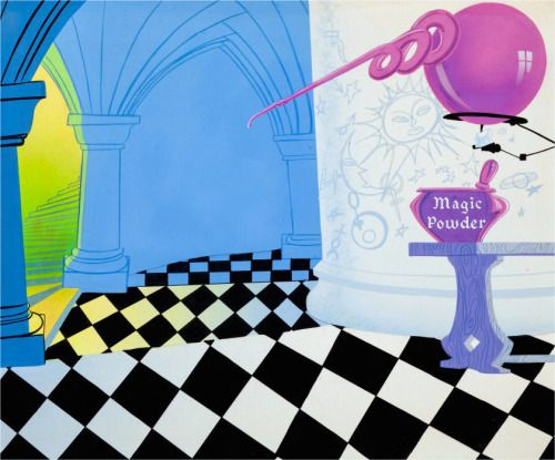 Production Background Knight Mare Hare Wb 1955 Animation Art Painting Illustration Animation Background
