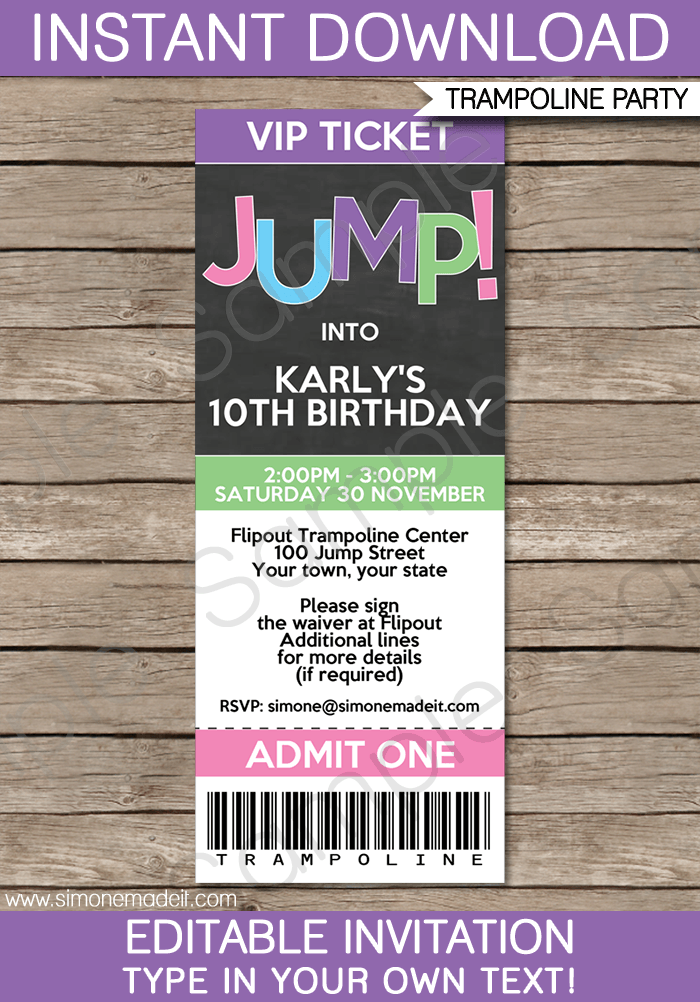 Trampoline Birthday Party Ticket Invitations Template ...
