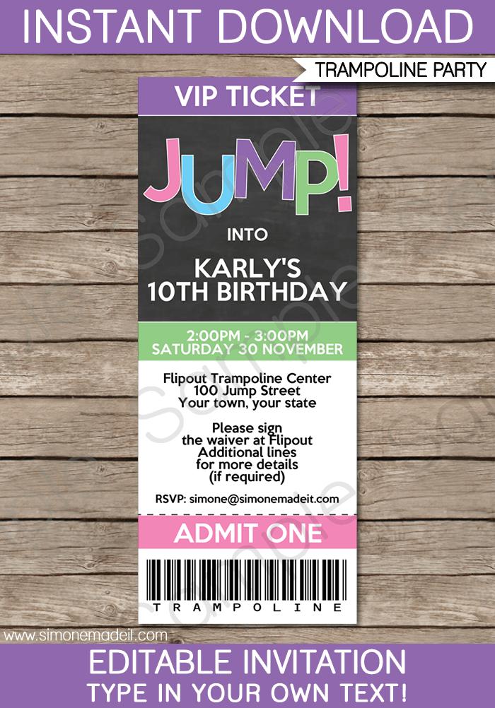 Trampoline Birthday Party Ticket Invitations Template – girls ...