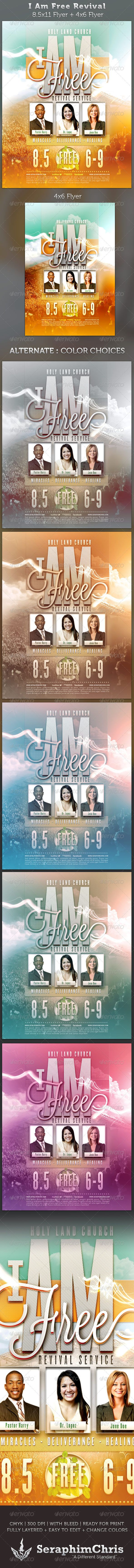 i am free revival flyer full page and 4x6 template pinterest