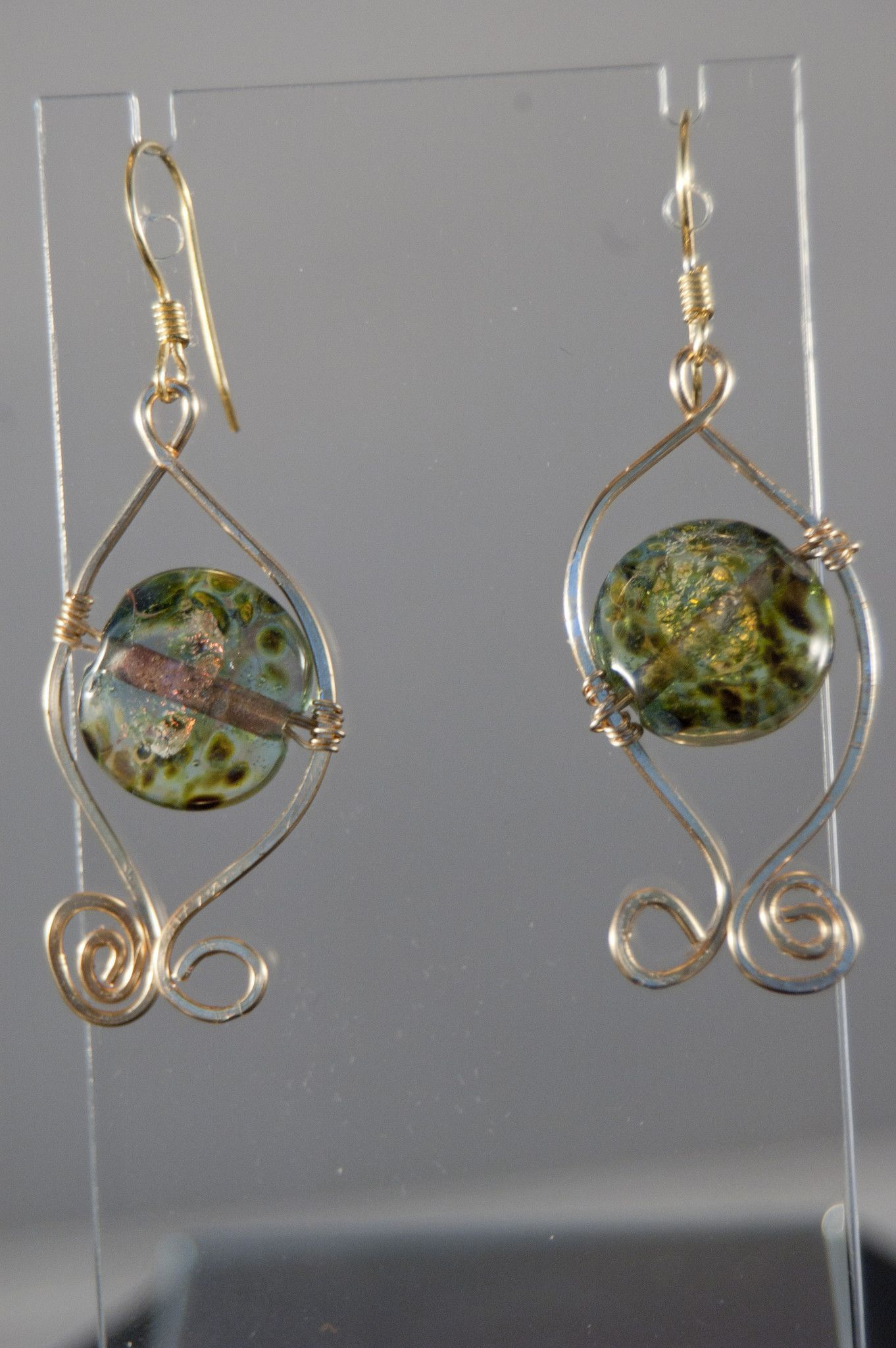 Unicorne Lampwork Lentil Beads with Gold-filled wire wrapped ...