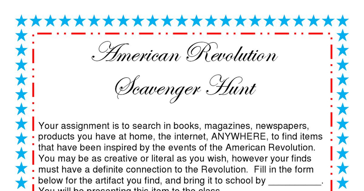 American Revolution Scavenger Hunt pdf | 5th Grade US