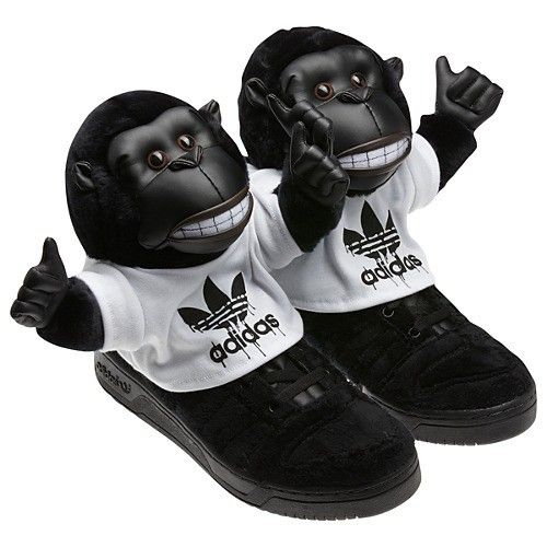 Mens Adidas Originals Jeremy Scott Gorilla All Black Nike USA TrainersYouth