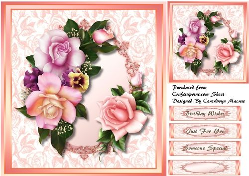 A lovely card with beautiful pink roses in a gold frame has three a lovely card with beautiful pink roses in a gold frame has three greeting tags and m4hsunfo