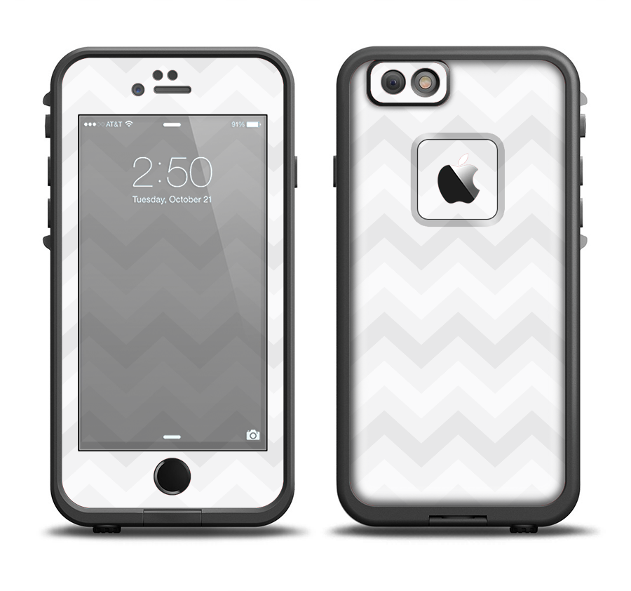 The Faded White Zigzag Chevron Pattern Apple iPhone 6/6s Plus LifeProof Fre Case Skin Set from DesignSkinz