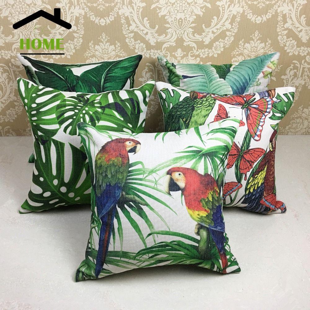 behome digital printed decorative ocean plants leaves pillow