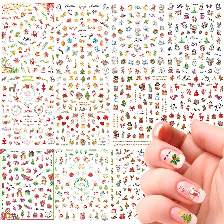 25 Unique Xmas Nail Art Stickers Whaline 11 Sheets 3d Christmas