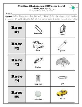 Gravity Unit and Worksheets Kindergarten | Kindergarten ...