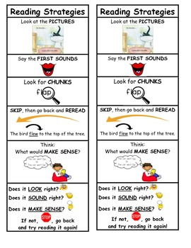 This reading strategies bookmark has the five most important decoding strategies for children who are learning to read.  After teaching the children these reading strategies, you could then have the students use the bookmark to help prompt them as to strategies they could try independently when they come to an unknown word.