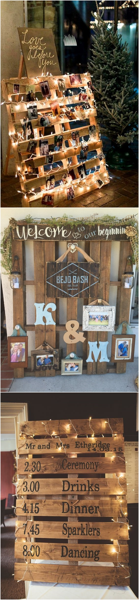 Rustic Wood Pallet Wedding Photo Display Rusticwedding Countrywedding Country Wooden Weddingideas Weddingdecor