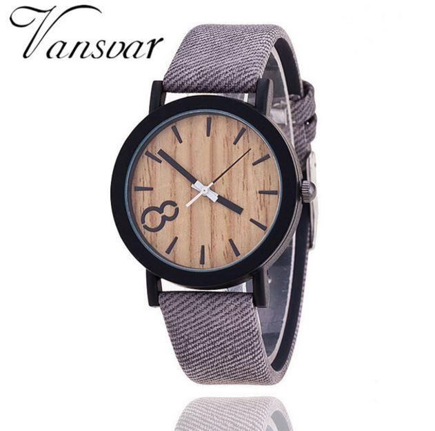 4e8b3ff4a Dámské i pánské unisex moderní hodinky s motivem dřeva – šedý pásek – SLEVA  50 %