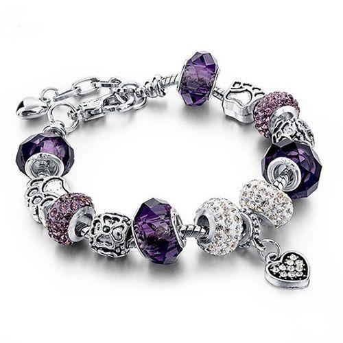 Bracelet plaqué argent améthyste pierre violette